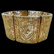 Vintage Chinese Export Gilt Filigree Wire Work Bracelet