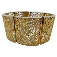 Vintage Chinese Export Gilt Filigree Wire Work Bracelet