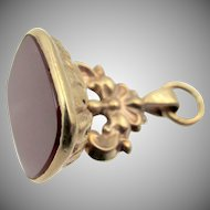 Vintage 9k Gold Carnelian Fob Pendant