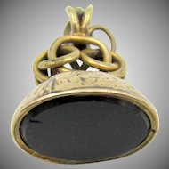 Vintage Yellow Gold Onyx Fob Charm Pendant