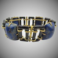 Vintage Black Link and Blue Lapis Glass Bracelet