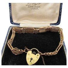 Victorian Rolled Gold Gate Link Padlock Bracelet