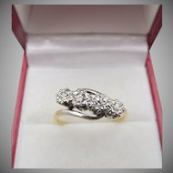 Antique 18ct Gold and Platinum Four Stone Diamond Ring