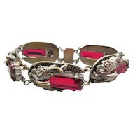 Art Deco Ornate Silver Red Rhinestone Bracelet
