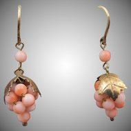 Antique Brass and Angel Skin Coral Grape Pierced Earrings