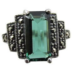 Vintage Art Deco Green Spinel and Marcasite Sterling Ring
