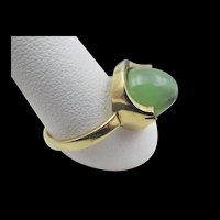 Vintage 9CT Gold English Art Deco Jade Ring