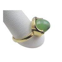 Vintage 9CT Gold English Art Deco Jade Ring
