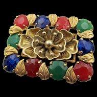Vintage Czech Neiger Faux Emerald, Lapis,Carnelian Brooch