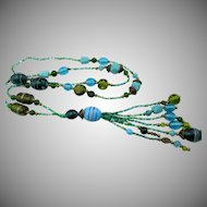 Vintage Art Deco Glass Sautoir Tassel Necklace