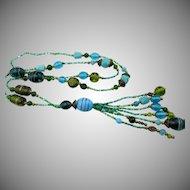 Vintage Art Deco Glass Sautoir Tassel Necklace