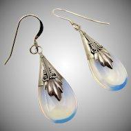 VIntage Sterling Silver Opaline Drop Earrings