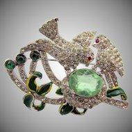 Vintage 1940s Coro Diamante Enamel Bird's Nest Brooch