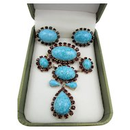 Vintage Turquoise and Red Rhinestone Drop Brooch and Earring Set