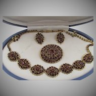 Vintage Austrian Garnet Rhinestone Necklace, Brooch and Earring Parure