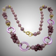 Vintage Art Deco Czech Purple Glass Cluster Necklace