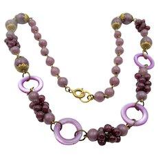 Vintage Art Deco Czech Purple Glass Cluster Necklace