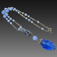 Vintage Signed Czech Faceted Blue Twisted Wire Drop Necklace