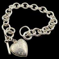 Vintage Silver Toggle Bracelet Scrolled Heart