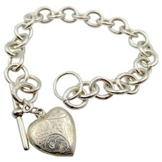 Vintage Silver Toggle Bracelet Scrolled Heart