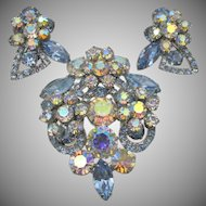 Vintage DeLizza & Elster Juliana Blue Floral Cluster Brooch and Earrings Book Pieces