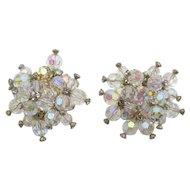 Vintage DeLizza & Elster Juliana Crystal Rhinestone Clip Cluster Earrings