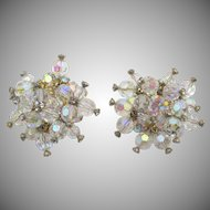 Vintage DeLizza & Elster Juliana Crystal Rhinestone Clip Cluster Earrings
