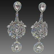 Vintage Signed Butler and Wilson Crystal Drippy Pierced Earrings