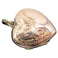 VIntage England 9CT Rose Gold Etched Heart Locket Charm