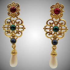 Vintage MFA Jeweled Rhinestone Colored Pierced Drop Earrings