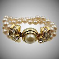 Vintage KJL Kenneth Lane Faux Pearl and Rhinestone Bracelet