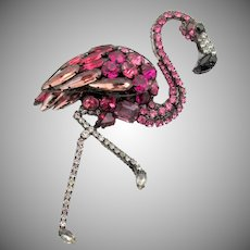 Huge Signed Moans Couture Handmade Pink Flamingo Brooch/Pendant