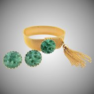 Vintage Napier Mesh Bracelet Faux Carved Jade Matching Earrings: Bertolli Book Piece
