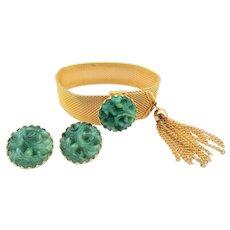 Vintage Napier Mesh Bracelet Faux Carved Jade Matching Earrings: Bertolli Book Piece
