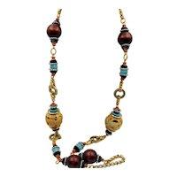 "Vintage Lawrence Vrba 40"" Long Chunky Fabulous Beaded Necklace"