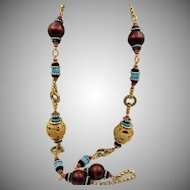 Vintage Lawrence Vrba Long Chunky Fabulous Beaded Necklace