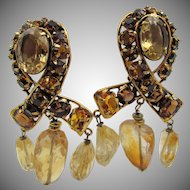 Iradj Moini Semi-Precious Natural Citrine and Topaz Rhinestone Clip Earrings
