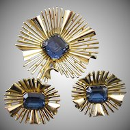 Vintage Crown Trifari Starburst Rhinestone Brooch and Earrings