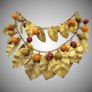 Vintage 1930s Brass Leaves and Bakelite Double Necklace
