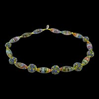 Vintage Millefiori and Beaded Bead Necklace