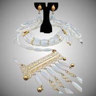 Vintage Alice Caviness Four Piece Opalescent Opaline Glass Parure RARE