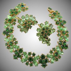 Vintage Crown Trifari Emerald and Peridot Green Rhinestone Bracelet and Clip Earrings