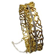 Vintage 1964 Oleg Cassini Rhinestone Clamp Bracelet