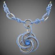 Vintage Blue Twisted Seed Bead Rhinestone Necklace