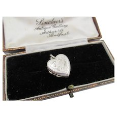 Vintage London, England Sterling Silver Heart Locket Charm