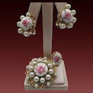 Sweet Vintage Guilloché Rose Enamel Brooch, Earrings, Ring