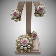 Sweet Vintage Guilloché Rose Enamel Brooch, Earrings, Ring
