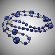 "Vintage 30"" Royal Blue Millefiori Italian Beaded Necklace"