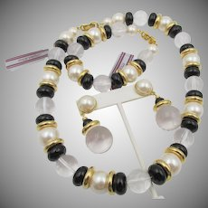 Vintage Marvella Lucite and Faux Pearl Necklace, Bracelet and Pierced Earring Set