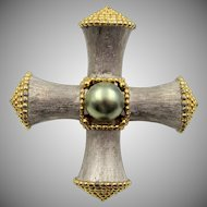 Vintage KJL Maltese Cross Faux Pearl Pin/Pendant